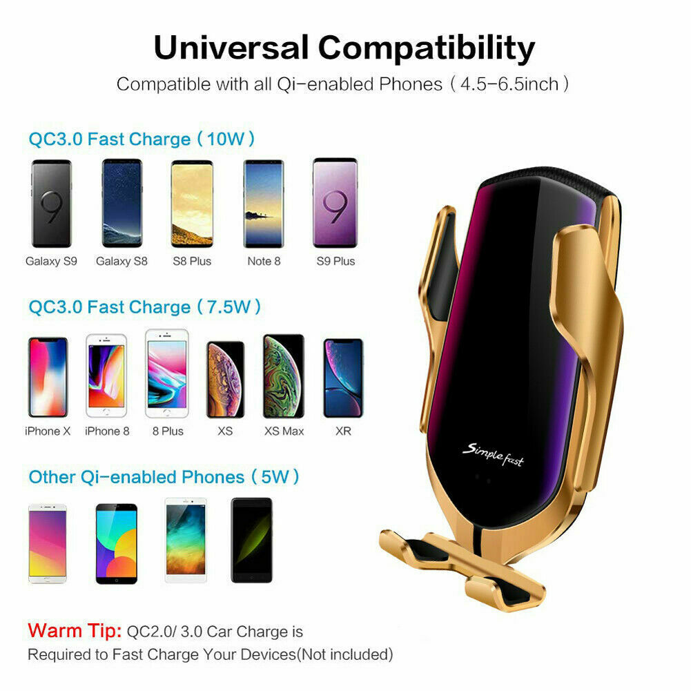 Gun Samsung Wireless Car Charger Infrared Auto Clamp Fast Charging Smart Sensor Car Phone Holder Mount for iPhone