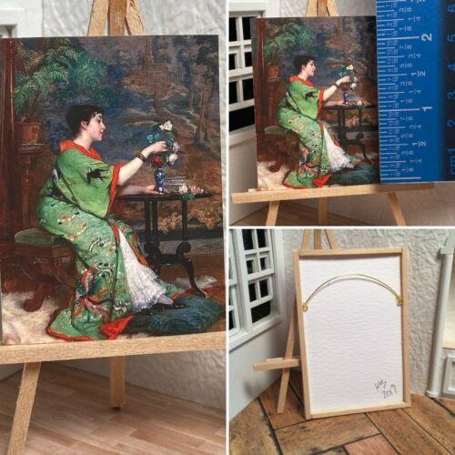 Miniature Dollhouse Room Box Art Woman in Green Sparrow Kimono Handmade