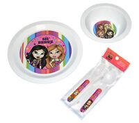 Lil' Bratz Girls Kids Plate Bowl Spoon & Fork 4pc Dining Dinnerware Set