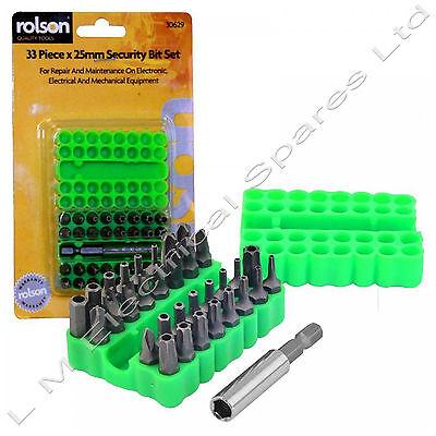 Rolson 33pc x 25mm Security Bit Set Tamperproof DIY Tools Hex Key Tri Wing