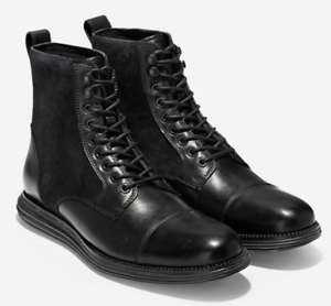 up-to-datestyling look out for buying now Details about COLE HAAN Men's OriginalGrand Black Cap Toe BOOT Leather  Suede C29455