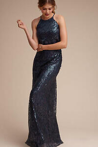 05ac1883b Image is loading New-Anthropologie-BHLDN-sequined-Alana-dress-Navy-size-