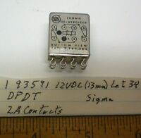 1 Sealed Relay 12v Dc, Dpdt, 2a Contacts, Sigma 93591, Lot 34 Made In Usa