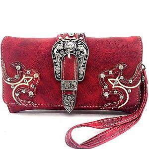 Western Cowgirl Rhinestone Buckle Red Luxurious Wristlet Wallet Long Strap
