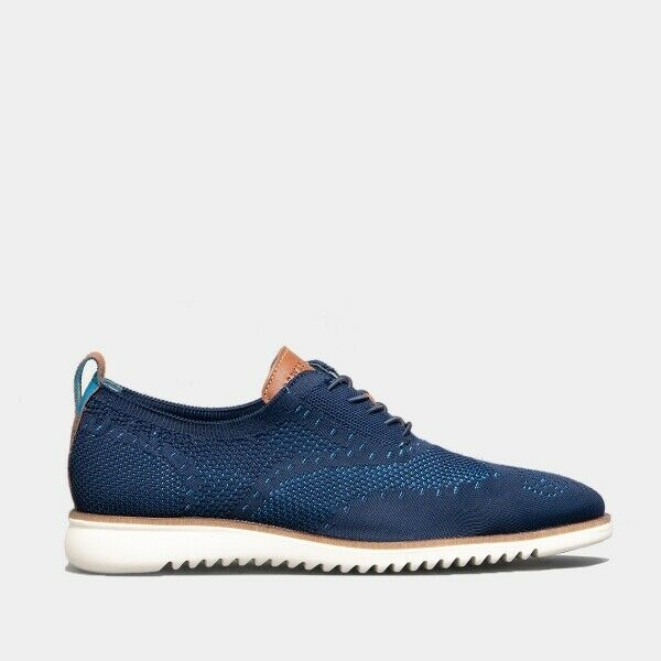 Oswin Hyde DANIEL Mens Casual Lace Up Knitted Oxford Woven Trainers shoes Navy