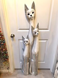 Cat-Tall-Statue-Wood-Carved-Set-of-3-With-Hand-Painted-Body-Solid-Wood-ZENDA