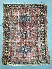 Old Antique Handmade Heriz-Karaja Rug 4.9x3.6 Ft Shabby CHIC