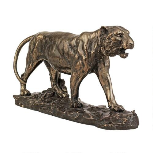 19th Century Art Replica Stalking Prey Faux Bronze Powerful Wild Tiger Statue