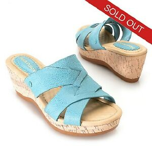 74045873c0 Details about NIB HUSH PUPPIES JANAE FARRIS TUMBLED LEATHER BACKLESS SLIP  ON WEDGE SANDALS 10