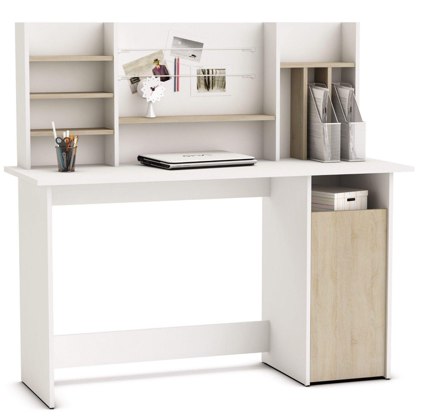 Mesa escritorio de ordenador con estantes color blanco y roble 135 cm...
