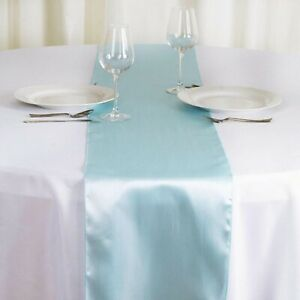 Details About Sky Blue Satin Table Runner