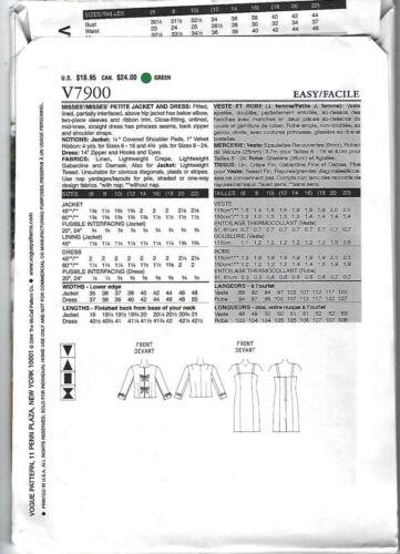 Dress /& Jacket the Vogue Woman Vogue Pattern V7900