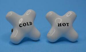 Vintage Porcelain Bathroom Faucet Knobs; Cross Shaped Hot Cold