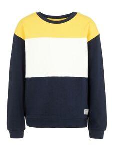 NAME-IT-Jungen-Pullover-Sweatshirt-NKMVance-gelb-blau-Groesse-122-128-bis-158-164