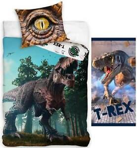 dinosaurier bettwäsche handtuch jurassic world t-rex wendebettwäsche badetuch | ebay