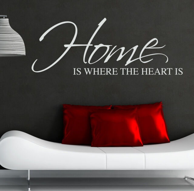 HOME IS WHERE THE HEART IS WALL STICKER ART DECAL QUOTE