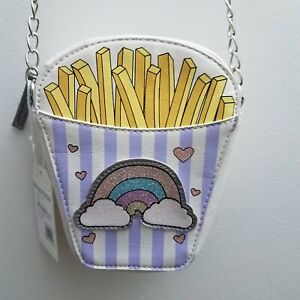 OMG-Accessories-Girls-Purse-Crossbody-Fries-Rainbow-Pink-Purple-Iridescent-NWT