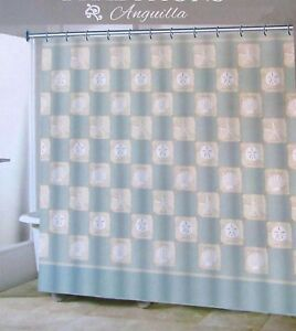 Traditions-ANGUILLA-Fabric-Shower-Curtain-Shells-Sand-Dollars-Blue-Gray-New
