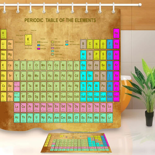 Periodic Table of Element For Student Shower Curtain Bath Waterproof Fabric Hook