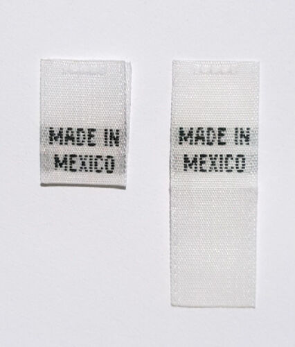 50 PCS WHITE WOVEN CLOTHING SEWING FOLDED CARE LABEL TAGS MADE IN MEXICO