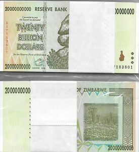 Details About 20 Billion Zimbabwe Dollars 2008 Uncirculated Money Bundle 10 50 100 Trillion