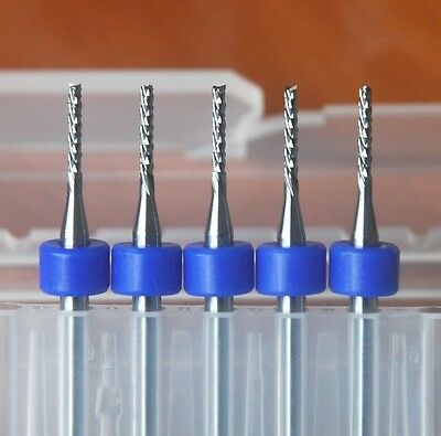 """5Pcs 1.0mm Left Hand Carbide End Mill Engraving Bits for CNC/PCB/SMT 1/8"""" New"""
