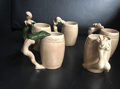 RARE Dorothy Kindell Striptease NUDE Mugs Porcelain Art Nouveau Burlesque Women