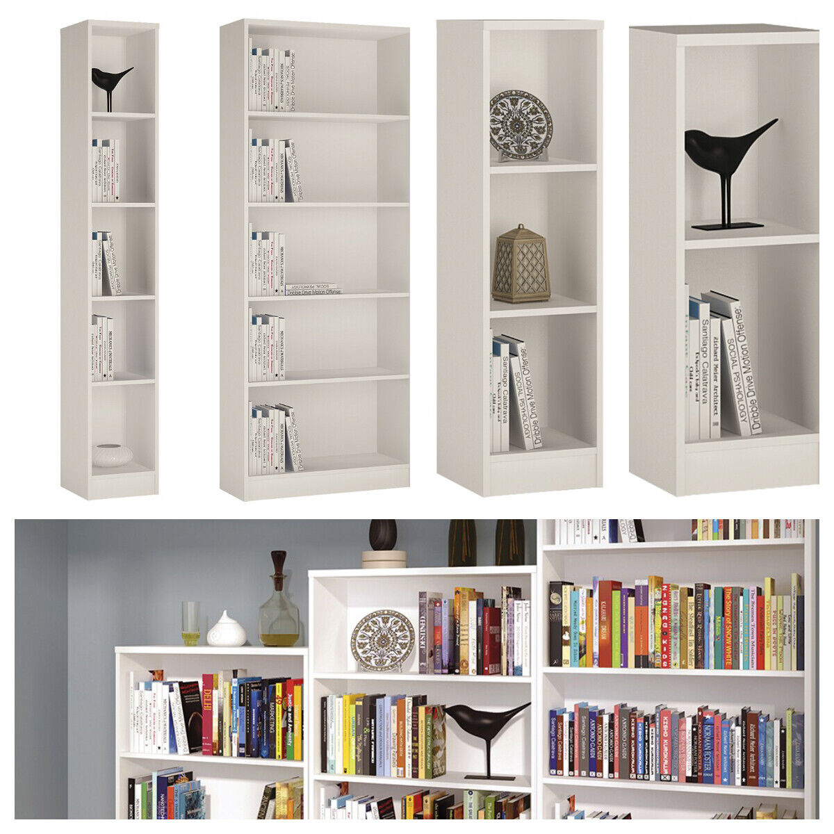 Pride Pearl White Bookcase Bookshelves Shelving Small Large Slim Low Narrow Wide