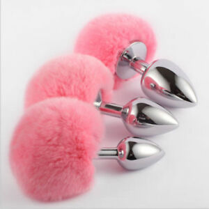 6f1fce548 Cute Bunny Rabbit Tail Tear Drop Butt Plugs 3 Sizes Silver Funny Toy ...