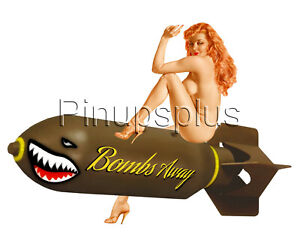 Waterslide-Decal-Sticker-Sexy-Pinup-Girl-on-Bombs-Away-WWII-Bomber-Nose-Art