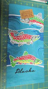 Alaska-Theme-Decorative-dish-Towel-Mosaic-Salmon-Kitchen-Towel-New