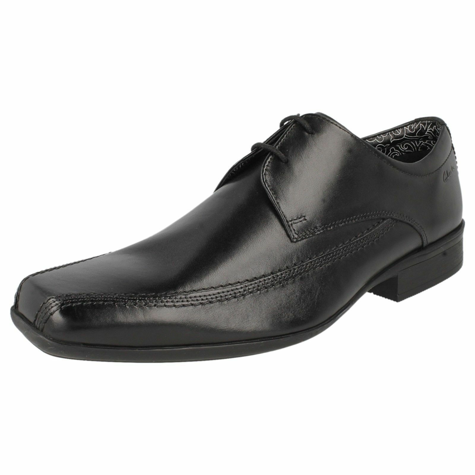 CLARKS Aze Day Mens Black Leather Squared Toe Lace Up Shoes