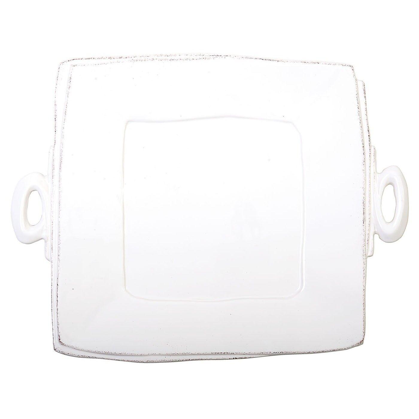 Vietri Lastra White Handled Square Platter