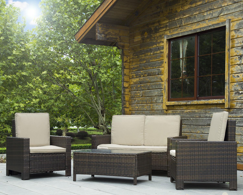 Details About Patio Sofa Set 4 Pcs Outdoor Furniture Set PE Rattan Wicker  Cushion Outdoor Gard