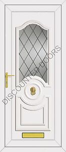 White Buckingham UPVC Front Door With Diamond Lead Glazed Panel, Frame & Letterb