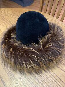 Rare KOKIN New York Genuine Fox Fur Brim Hat Sturdy Very Well Made