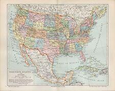 Landkarte map 1897:USA, Vereinigte Staaten von Amerika und Mexiko. U.S.A. Mexico
