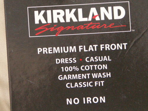 Kirkland Signature MENS 100/% cotton Flat Front Pant//trousers fantastic value BNW