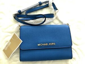 1ac25c2f60a9f6 Image is loading NWT-MICHAEL-KORS-Crossbody-in-Royal-Blue-Leather