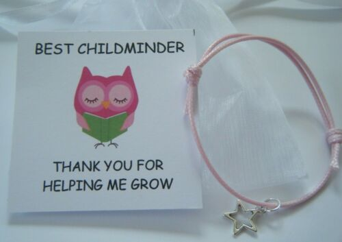 Gardienne Cadeau Merci carte Bracelet laissant Cadeau Nounou en Organza Sac