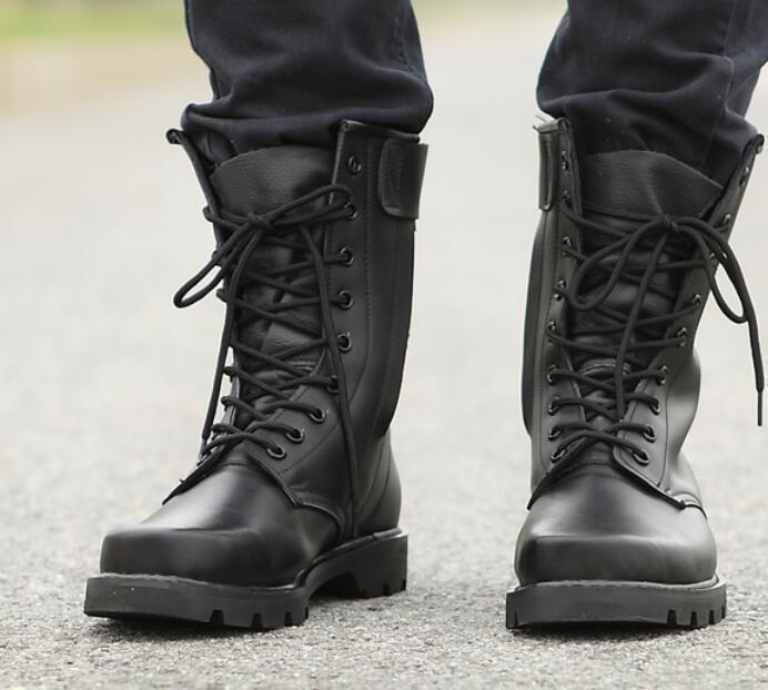 Zapatos de Cuero para Hombre botas Militares Mitad de Pantorrilla Con Cordones Combate Negro De Motocicleta Xiem