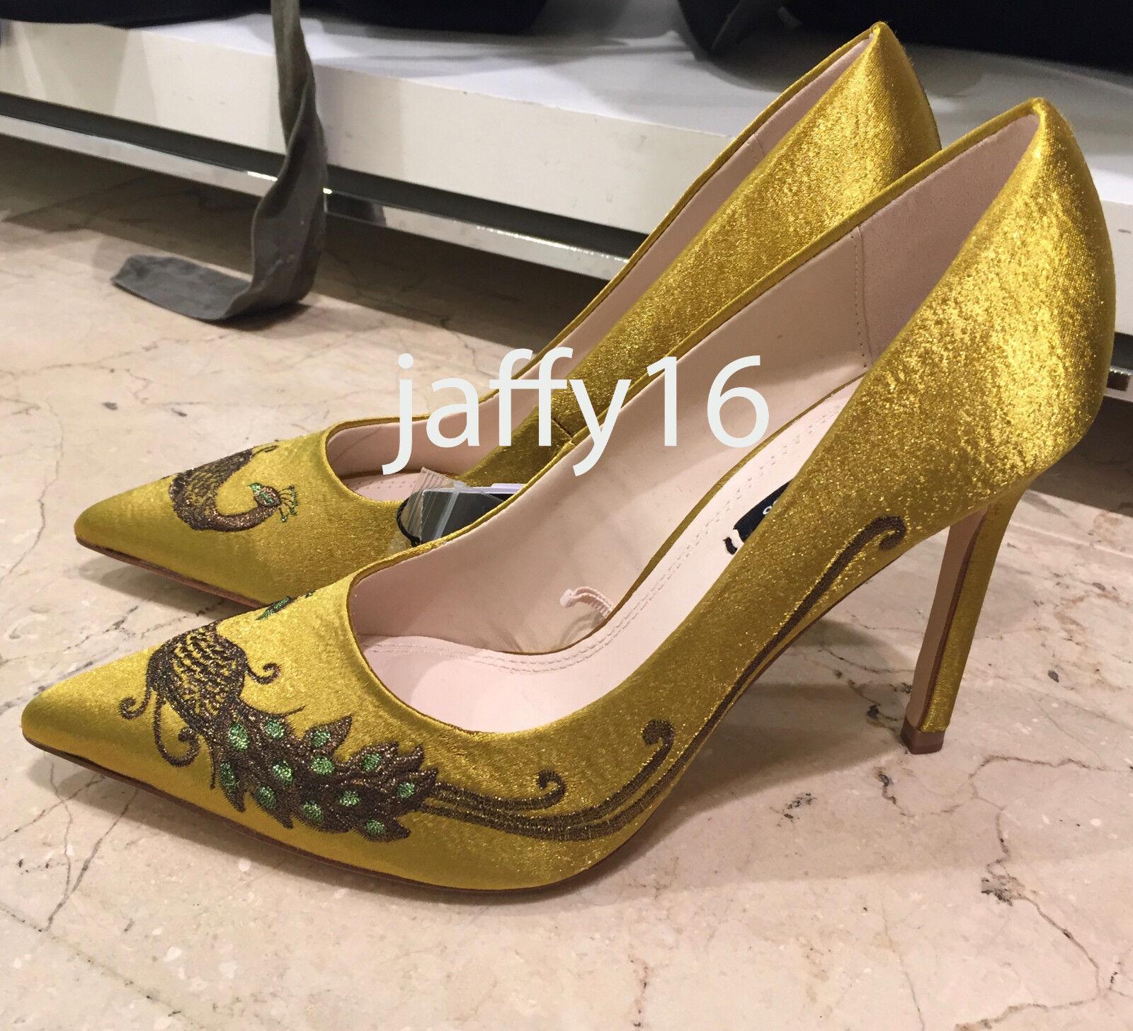 ZARA SATIN COURT Schuhe WITH EMBROIDEROT BEADING YELLOW 35-42 REF. 6216/201