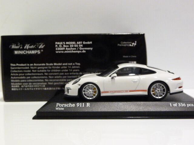 1 43 Minichamps Porsche 911-R (991) 2016 White w w w  Red Writing 410066221 336 pcs b56a78