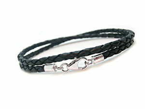 MENS-LEATHER-BRACELET-DOUBLE-BRAIDED-STERLING-SILVER-925