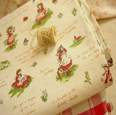 Japanese Country Girls Children Kids Linen Cotton Fabric Retro 50x46cm