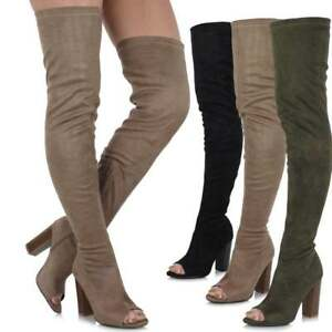 Ladies Long Tall Thigh High Over Knee Peep Toe Block Heel Sock Fit Stretch Boots