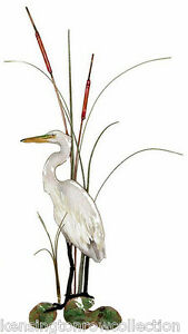 WALL ART - SNOWY WHITE EGRET METAL WALL SCULPTURE - WALL DECOR - NAUTICAL DECOR