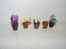 5 alte Topf-Pflanzen-Garten-Kaufladen-Puppenhaus-Puppenstube-1:12