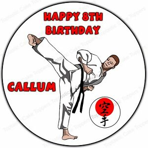 Image Is Loading Personalised Karate Martial Arts Round Edible Icing Birthday