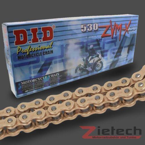 DID Motorrad Kette Offen Nietschloss X-Ring 530 ZVMX 110 Glieder Gold-Gold